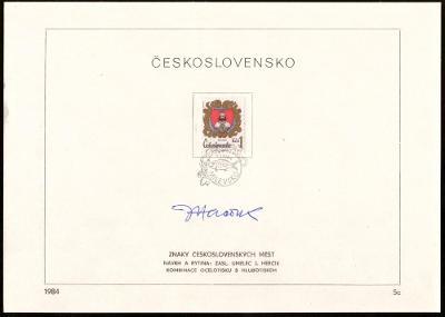 POF. 2634-37 - 4x NÁLEPNÍ LIST, VŠE PODPIS J. HERČÍK (S1016)