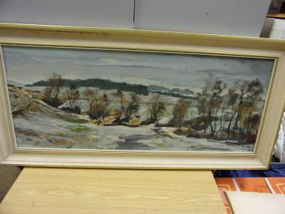 Malovaný obraz, motiv příroda olej na kartonu