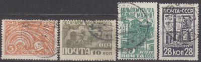 SSSR - 1929 SOVĚTSKÝ PRŮMYSL Mi.: 379-382 - ražené