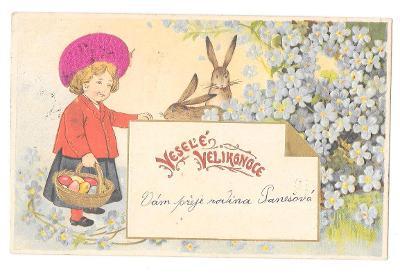 Pohlednice, přání Veselé Velikonoce, TLAČENÁ, ZLACENÁ, ČEPEC HEDVÁBÍ