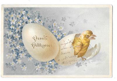 Pohlednice, přání Veselé Velikonoce, TLAČENÁ, ZLACENÁ
