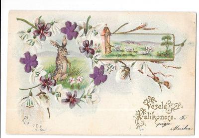 Pohlednice, přání Veselé Velikonoce, TLAČENÁ, ZLACENÁ, 3X KVĚT HEDVÁBÍ