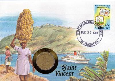 St.Vincent minc. dopis s KM 15 East Carib.: 1 dollar 1981 VF s kartou
