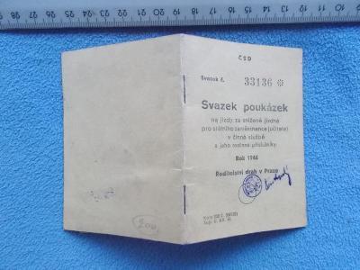 Jízdenka Vlak železnice dráha Poukázka Státní zaměstnanec 1946 Kolek