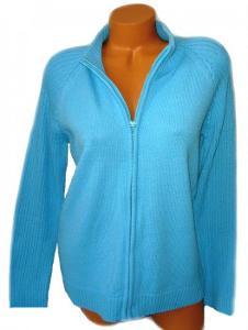 BONMARCHÉ azurový dámský svetr na zip, vel. M