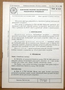 STARÁ NORMA ČSN 36 1225 1966 ELEKTRICKÉ KUCHYNSKÉ STROJČEKY NÁLEZ