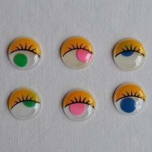 plastové oči barevné, lepící, 9 ks