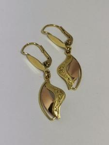 Luxusní zlaté visací naušnice