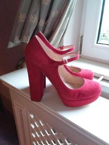 Dune červené kožené botičky