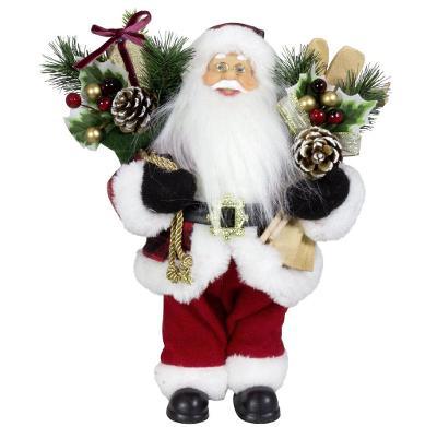 Vánoční dekorace Ježíšek Santa s lyžemi a dárky 45 cm