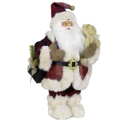 Vánoční dekorace Ježíšek Santa s taškou a medvídkem 45 cm