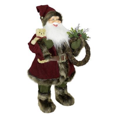 Vánoční dekorace Ježíšek Santa s věncem 45 cm