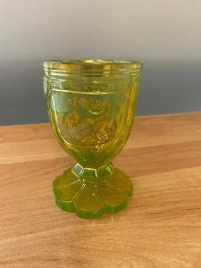 Biedermeier sklenice, uranové sklo, Annagelb, rok cca 1840