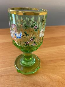 Biedermeier sklenice, uranové sklo, Annagrün, rok cca 1840