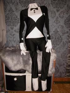 karneval pružný maškarní kostým overal číšník dospělá vel L unisex