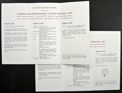 ČR - 2 PAMĚTNÍ LISTY VÝSTAVA FILATELISTICKÁ BENEŠOV 1997 (S1032)
