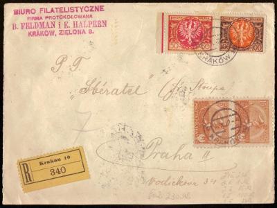POLSKO - R-DOPIS ZASLANÝ DO PRAHY, 1922, ZAJÍMAVÁ FRANKTATURA (S1052)