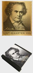 Svatý Martin Nizozemsko 2020 Známky ** zlatá poštovní známka Beethoven