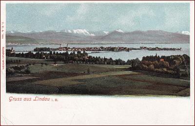 Lindau (Bodensee) * město, jezero, hory, Alpy * Německo * Z435
