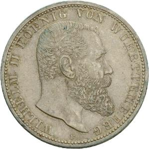 Německo Württemberg Wilhelm II. 5 Mark 1907F RR UNC č36079