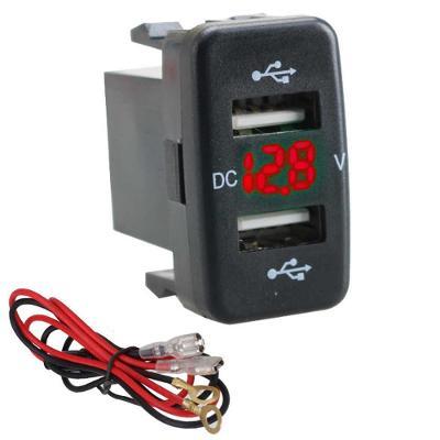 Duální USB nabíječka do panelu s voltmetrem