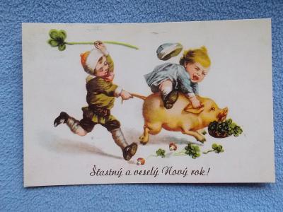 Pohlednice dítě prase muchomůrka čtyřlístek reedice