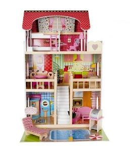 Domeček pro panenky LED s bazénem a příslušenstvím XXL + dárek