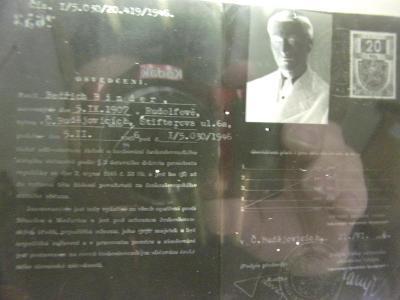 Starý skleněný foto negativ osvědčení o občanství, odsun Němců
