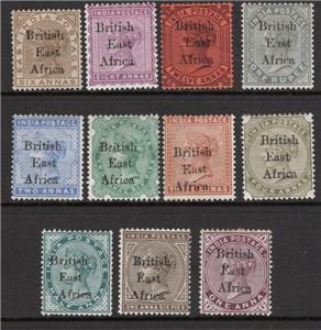 Brtiská Východní Afrika 1895 - komplet definitiva Viktorie po 1R 399£