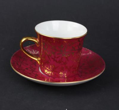 Porcelánový šálek s podšálkem EPIAG barvy bordó