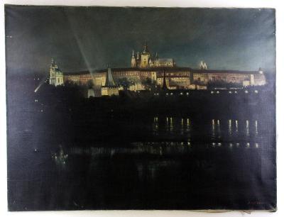 Olej na platně Noční Praha Pražský hrad v noci Hradčany Adolf Seidl