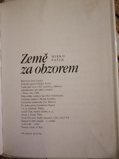 Mirko Pašek - Země za obzorem, 1966 - Knihy
