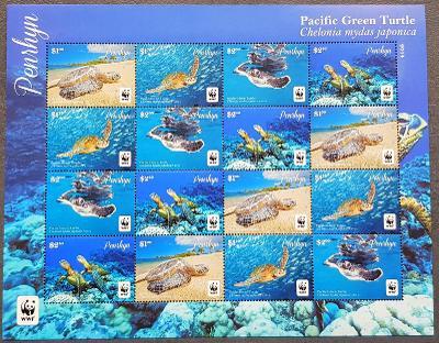 Penrhyn 2014, fauna - želvy Kareta  WWF, TL, katalog.cena 50 Euro!