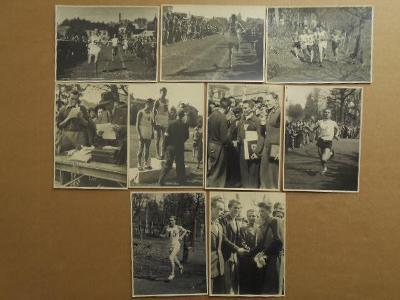NĚMECKÝ BROD / Běžci 9 KS válečné dobové foto / r. cm až 18x13