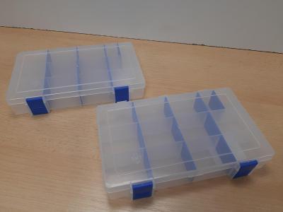 Kvalitní boxy na spojovací materiál s nastavitelnými přepážkami, nové