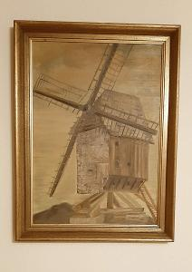 VĚTRNÝ MLÝN - obraz olej na plátně