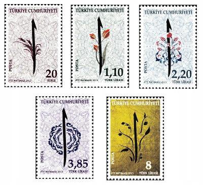 Turecko 2013 Známky Mi 3997-4001 ** květiny kaligrafie