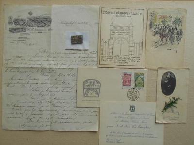 Judaika - Židé KONVOLUT 7 ks dopis, pozvánka, kresba, obálka se známky