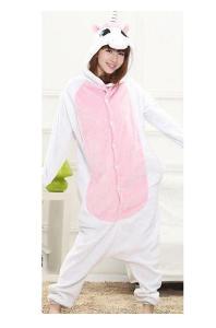Plyšový Overal Pyžamo Růžovo Bílé