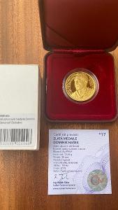 Investiční zlato - Dominik Hašek proof - 1/2 OZ mince - číslo 17!!!