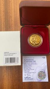 Investiční zlato - 17. listopad 1989 - 1/2 OZ medaile proof - č. 30!!!