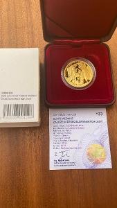Investiční zlato - Založení Čsl. legií - 1/2 OZ medaile proof - č. 33!