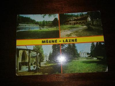 Pohlednice - Mšené - Lázně, prošla poštou