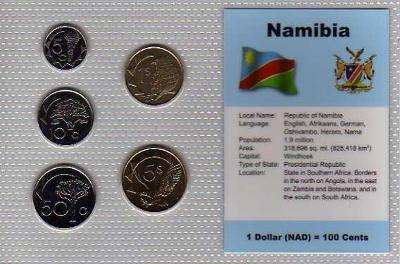 NAMIBIE: kompletní sada 5 mincí 5 centů-5 dolarů 1993-98 UNC v blistru