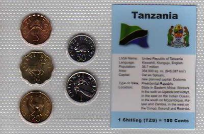 TANZANIE: kompletní sada 5 mincí 5 cent-1 šilink 1979-92 UNC v blistru