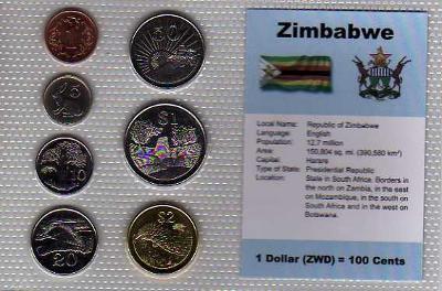 ZIMBABWE: nekompletní sada 7 mincí 1 cent -2 dolary 1990 UNC v blistru
