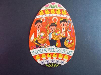 Přání  Velikonoce netradiční kulatá elipsa vejce malíř Miler