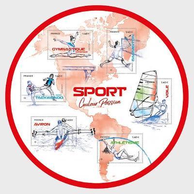 Francie 2020 Známky aršík ** sport plachtění taekwondo badminton