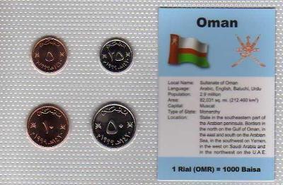 OMÁN: kompletní sada 4 mincí 5-50 baiza 1990-97 UNC v blistru