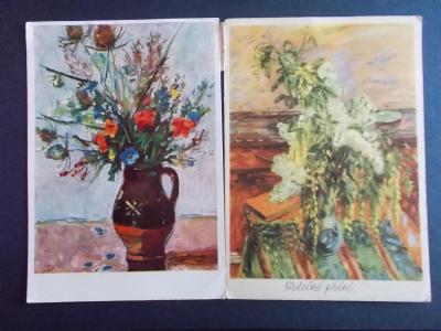Pohlednice umělecká Svátek přání kytice ve váze Liesler , Holý 2 x